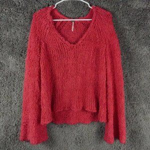 Free People pink knit sweater wide sleeves size Medium